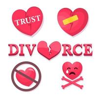 Couple breakup, divorce vector icons set