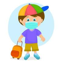 School boy wearing a face mask vector
