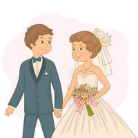 Cute bride and groom holding hands. Cute wedding couple vector