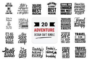 paquete de diseño artesanal con citas de letras de aventuras. vector