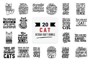 paquete de diseño artesanal con citas de letras de gatos. vector