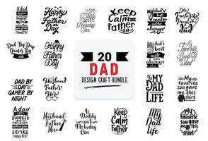 paquete de diseño artesanal con citas de letras de papá. vector