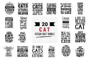 Craft design bundle with cat lettering quotes. vector