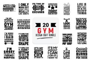 Craft design bundle with Gym lettering quotes. vector