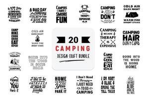 Craft design bundle with Camping lettering quotes. vector