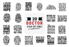Craft design bundle with Doctor lettering quotes. vector