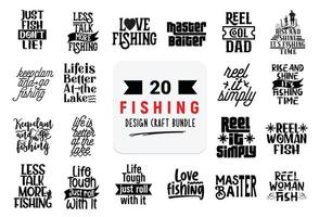 Craft design bundle with Fishing lettering quotes. vector