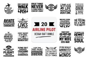 Craft design bundle with Airline Pilot lettering quotes. vector