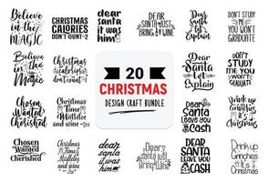 Craft design bundle with christmas lettering quotes. vector