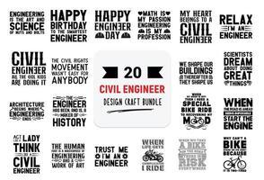 paquete de diseño artesanal con citas de letras de ingeniero civil. vector