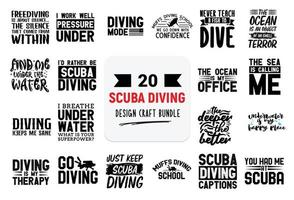 Craft design bundle with scuba diving lettering quotes. vector