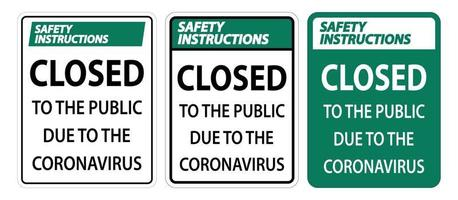 Safety Instructions Closed to public sign on white background vector