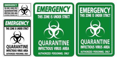 Emergency Quarantine Infectious Virus Area Sign Isolate On White Background,Vector Illustration EPS.10 vector