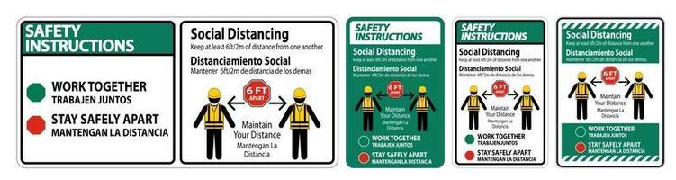 Safety Instructions Bilingual Social Distancing Construction Sign Isolate On White Background,Vector Illustration EPS.10 vector