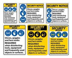 Security Notice Gloves,Goggles,And Face Masks Required Sign On White Background,Vector Illustration EPS.10 vector
