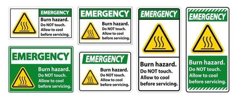 Emergency Burn hazard safety,Do not touch label Sign on white background vector