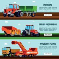 Potato Cultivation Flat Banners Vector Illustration