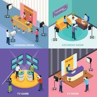 Isometric Television Design Concept Vector Illustration