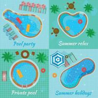 Swimming Pools Top View Concept Vector Illustration