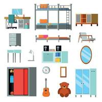 Ilustración de vector de iconos planos de constructor de habitación adolescente