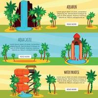 Ilustración de vector de banners horizontales planas de parque acuático