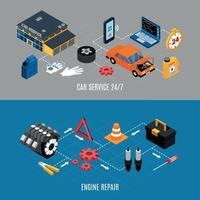 Car Service And Maintenance Banners Set Vector Illustration