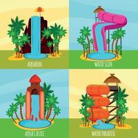 Ilustración de vector de concepto de diseño plano de parque acuático