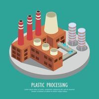 Reprocesamiento de plásticos composición de fondo ilustración vectorial vector