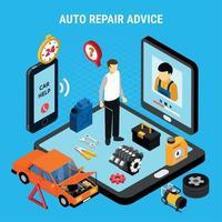 Ilustración de vector de concepto de asesoramiento de reparación de automóviles