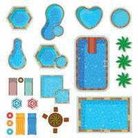 Swimming Pools Top View Set Vector Illustration