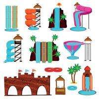 Los iconos planos del parque acuático establecen ilustración vectorial vector