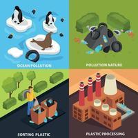 Ilustración de vector de concepto de diseño de contaminación isométrica
