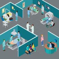 Hospital Rooms Isometric Composition Vector Illustration