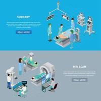 Medical Scanning Equipment Banners Vector Illustration