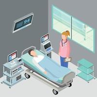 Hospital Ward Isometric Composition Vector Illustration