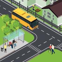 Ilustración de vector de ilustración isométrica de transporte público pensionista