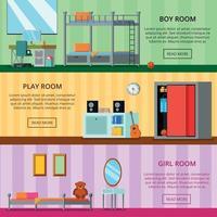 Ilustración de vector de banners planos de habitación adolescente