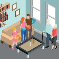 Elderly Couple Family Isometric Illustration Vector Illustration