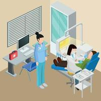 Dentists Office Isometric Composition Vector Illustration