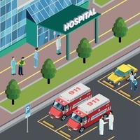 Isometric Hospital Neighbourhood Composition Vector Illustration