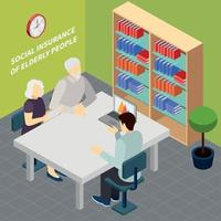 Pensioners Social Security Isometric Illustration Vector Illustration