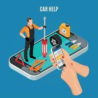 Ilustración de vector de concepto de ayuda de coche