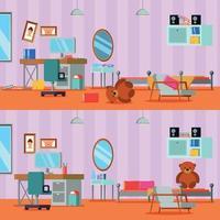 Ilustración de vector de habitación adolescente desordenada y limpia