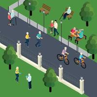 Ilustración de vector de ilustración isométrica de actividad de ocio de jubilados
