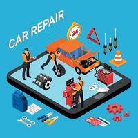Ilustración de vector de concepto de reparación de coche