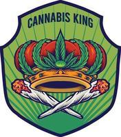 Cannabis King Crown Badge Premium vector
