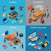 Car Service Concept Icona Set Vector Illustration