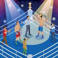 Isometric Box Competition Composition Vector Illustration