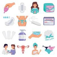 Feminine Hygiene Flat Set Vector Illustration