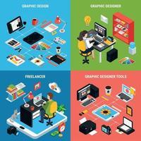 Graphic Design 2x2 Concept Vector Illustration